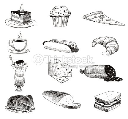 Vector hand drawn food sketch and kitchen doodle. Handdrawn food sketch and kitchen doodle graphic retro cook restaurant meal menu symbols. Dinner design product ingredient illustration : stock vector