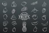 Vector hand drawn fruits icons set. White on black. Decorative retro style collection farm product restaurant menu, market label.