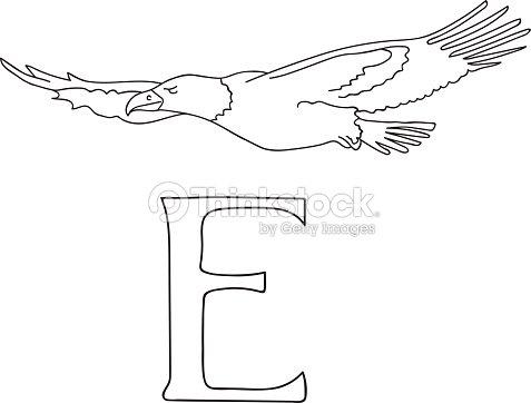 Vektor Handgezeichnete Abbildung Großbuchstabe E Alphabet Karte ...
