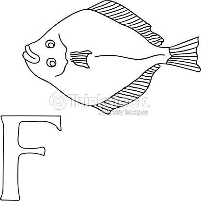 Mano De Vector Dibujado Ilustración Letra F En Tarjeta De Alfabeto ...