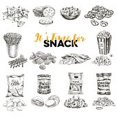 Vintage vector hand drawn snack and junk food sketch Illustrations set. Retro style. Chips,nuts, popcorn.