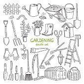 Vector hand drawn illustrations of gardening. Different doodle elements set for garden work. Gardening tool and equipment, hand drawn shovel and glove
