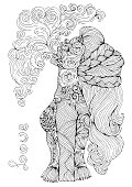 Vector drawn in profile sexy tattooed woman with pigtails in long hair. Romantic patterned girl let a pair vaping e-cigarette. Pattern smoking girl coloring page A4 size for adults.