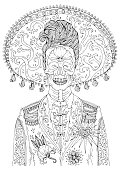 Vector hand drawn man with sugar skull calavera makeup with patterned sombrero on his head. Mexican holiday Day of the Dead. Halloween. Graphic design, print on t-shirt Isolated Coloring page for adul