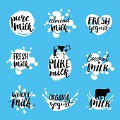 Vector hand drawn milk logotypes or labels. Signs set for dairy produce. Tags and elements collection for products packaging, cartons, advertising etc.