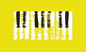 Vector hand drawn piano keyboard. Abstract brush strokes with paint texture.