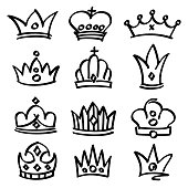 Vector hand drawn princess crowns. Sketch doodle royalty symbols. Royalty sketch crown, queen and king fashionable illustration
