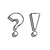 Vector hand drawn question and exclamation marks isolated on white.
