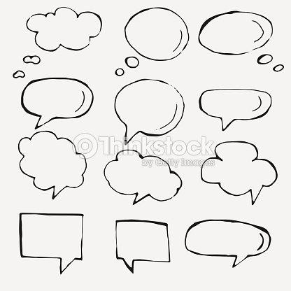 Vector Hand Drawn Speech Bubbles On White Vector Art