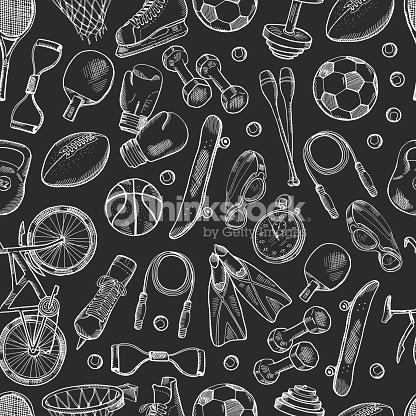 Vector hand drawn sports equipment pattern or chalkboard background : stock vector