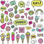 Vector hand drawn summer fashion patches: ice cream, cactus, watermelon, camera, rainbow, cat, cloud, lip, heart, speech bubble. Modern set of pop art stickers, patches, pins, badges in 80s-90s style