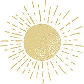 Vector hand drawn sun.  Eps8. RGB. One global color
