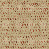 Vector hand drawn triangle tribal arrow seamless pattern of arrowhead shapes on beige with concentric ellipses. EPS10 file with transparency mode.