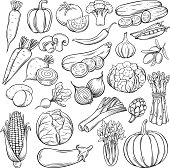 Vector hand drawn vegetables icons set. Sketch style collection farm product restaurant menu, market label.
