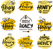 Vector hand drawn words and letters. Logo set for honey products. Honey sweet label, organic beekeeping farm logo illustration