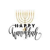 Vector hand lettering Happy Hanukkah illustration. Festive poster, greeting card template with Menorah sketch