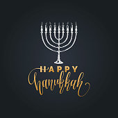Vector hand lettering Happy Hanukkah illustration. Festive poster, greeting card template with Menorah sketch