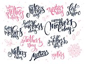 vector hand lettering happy mother's day text set, written in various styles with doodle flowers and hearts.