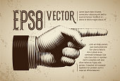 Vector hand with pointing finger in line engraving style. Eps8. RGB Global colors