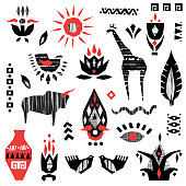 Vector hand-drawn set of nature elements of Africa.
