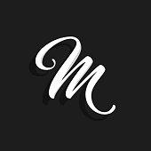 Hand Written Vector Logo Letter M. M Letter Design Vector