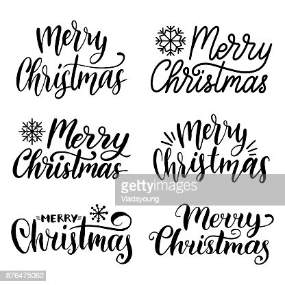 Vector mano feliz Navidad set de caligrafía. Colección de Letras de Navidad y año nuevo. : Arte vectorial