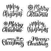 Vector handwritten Merry Christmas calligraphy set. Collection of Nativity and New Year lettering
