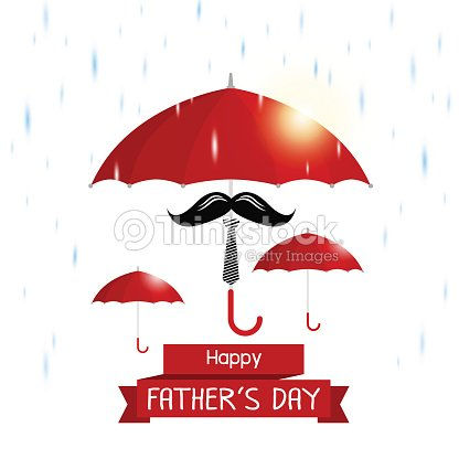 Vektor Glückliche Väter Tag Konzept Der Roten Regenschirm ...