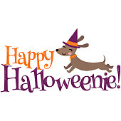 Vector Happy Halloweenie Dachshund Phrase Illustration. Perfect for scrapbooking, kids, stationary, Halloween, clothing, accessories and home décor projects.