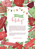 Merry Christmas design template with hand-drawn grain texture. Mistletoe leaves and berries, gifts, garlands of red and green lamps. There is copyspace for your text.