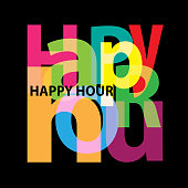 Vector Happy hour. Broken text