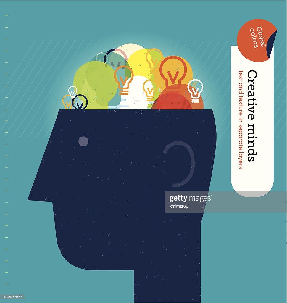 Vector head with bulbs brain. : Vector Art