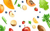 Healthy food pattern. Realistic organic vegetables and fruits from organic shop, farm market background. Broccoli, pumpkin, apple slice strawberry and blueberry, celery and salad orange slice