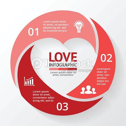 Vector De Corazón Círculo Infografía Plantilla De Diagrama De Ciclo ...