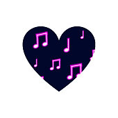 Vector Heart Isolated on White Background, Neon Musical Notes Pattern, Music Icon Template, Clip Art.