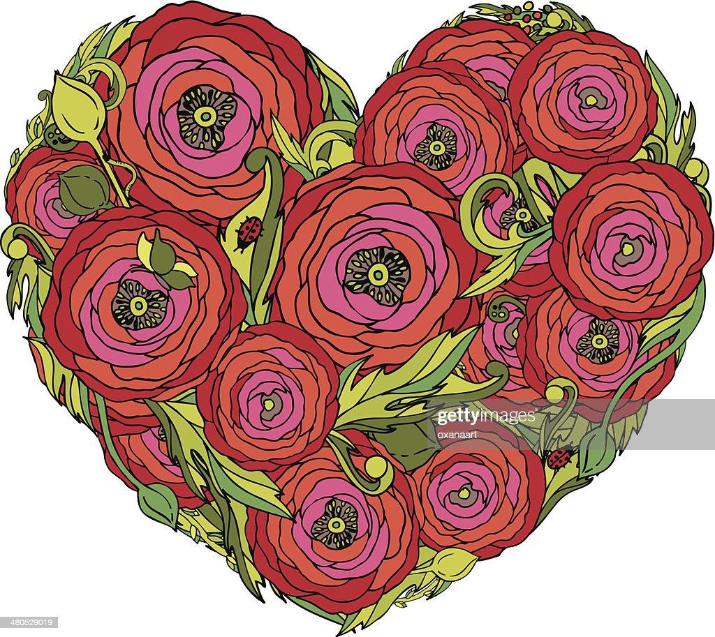 Cuore rosso vettoriale con fiori di ranuncolo oscillante : Arte vettoriale