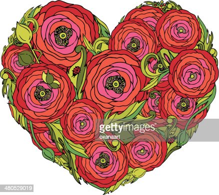 Vector heart with red ranunculus flowers : Vektorgrafik
