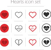 Vector hearts icon set. Color, linear and silhouette heart shape symbols isolated on white