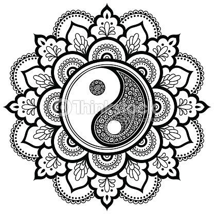 Mandala Del Tatuaje De Vector Henna Símbolo Decorativo Del Yin Y El ...