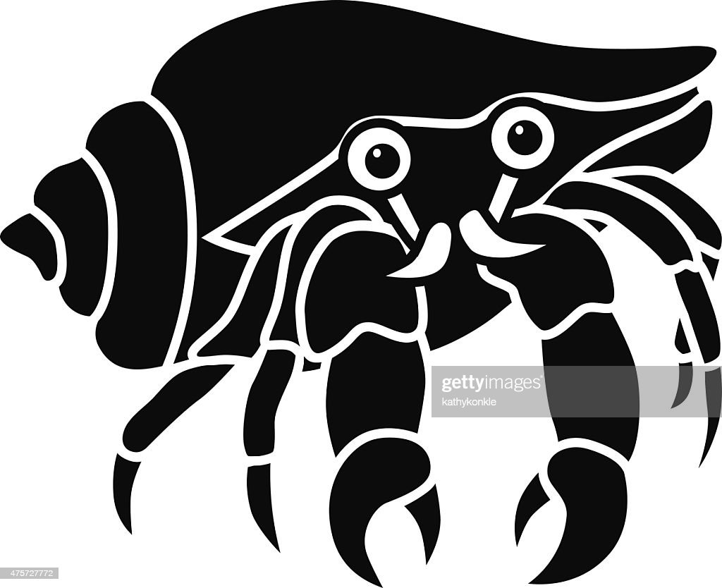 vector hermit crab icon stencil in black and white vector art