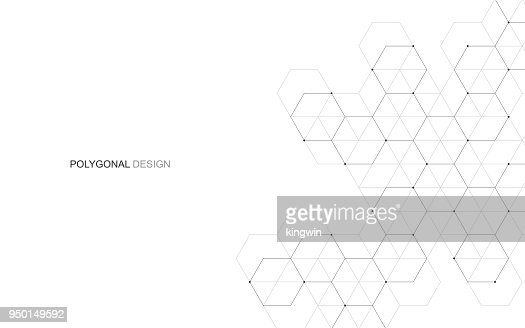 Vector hexagonal background. Digital geometric abstraction with lines and dots. Geometric abstract design. : Arte vettoriale