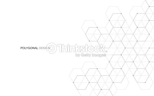 Vector hexagonal background. Digital geometric abstraction with lines and dots. Geometric abstract design. : stock vector