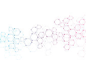 Vector hexagonal background. Digital geometric abstraction with lines and dots. Geometric abstract design