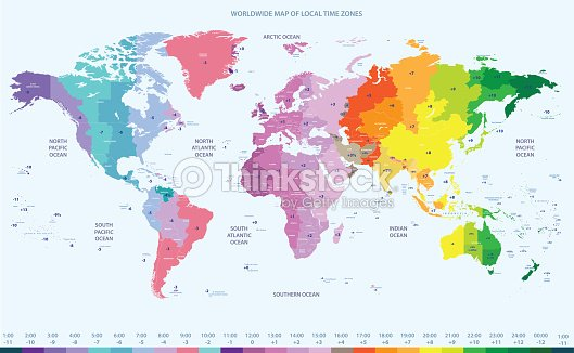 Vector high detailed world time zones map vector art thinkstock vector high detailed world time zones map vector art gumiabroncs Images