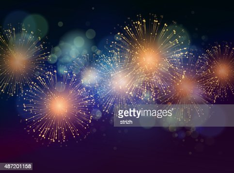 Vector Holiday Fireworks Background : stock vector