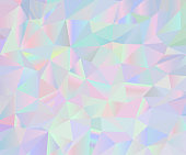 Abstract vector iridescent holographic polygonal background. Pastel colors inspired from the 80s 90s aesthetics.
