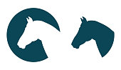 Vector horse head silhouette equesterian logo template