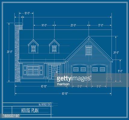 Vector House Blueprint Front Vector Art