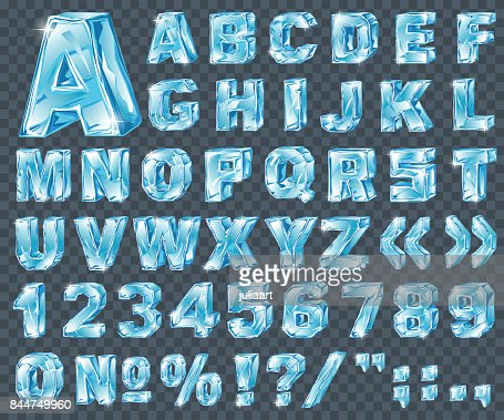 Vector ice alphabet. Ice letters and numerical symbols : stock vector