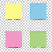 Vector icon bright multicolored sticker for notes. Vector sticker on transparent background.